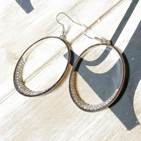 Alquimia Jewelry - STAINLESS STEEL PAVE STATEMENT DROP HOOPS